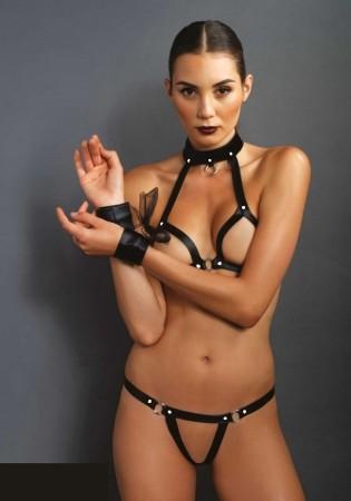 Open Leather Collar Set
