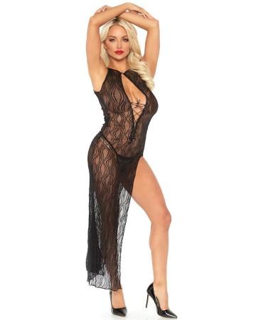 Leg Avenue 2 Piece Swirl Lace Slit Dress With G-String