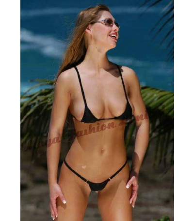 Women lycra Metal Ring Sexy MIcro Bikini Set Tiny G-String