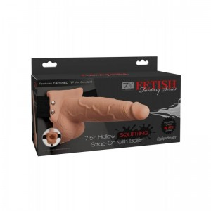 """FFS 7.5"""" Hollow Squirting Strap-On with Balls Flesh"""