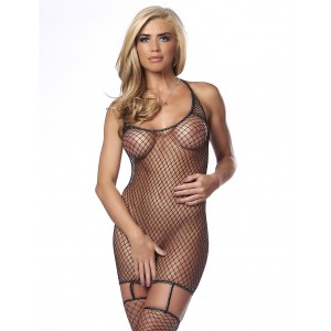 Amorable by Rimba fishnet mini dress with attached stockings