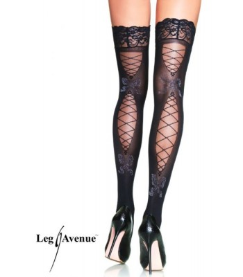 Opaque spandex stay up lace top thigh highs