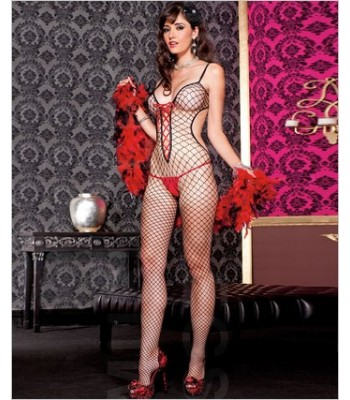 Cut Out Diamond Net Bodystocking