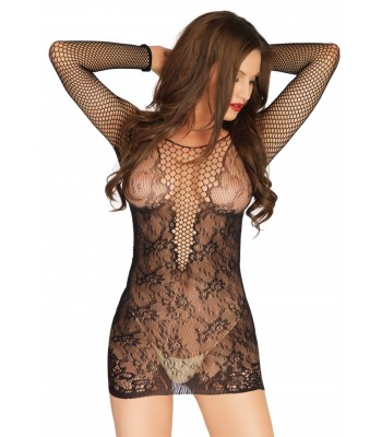 Mini Dress With Deep-V Accent