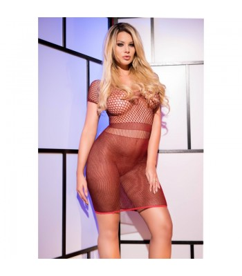 CR 4108 S-L Red superstretch Seamless Minidress-Bordeaux