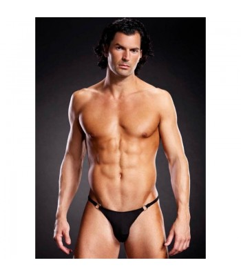 Microf. Thong w. Metal Rings Black