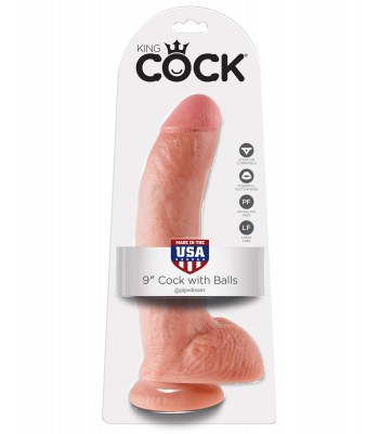 "King Cock 9"" Cock with Balls-Flesh"