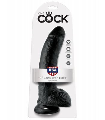 "King Cock 9"" Cock with Balls-Black"