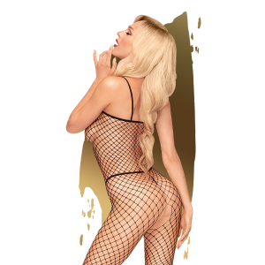 Penthouse - Body Search - Fishnet catsuit with open crotch-Black