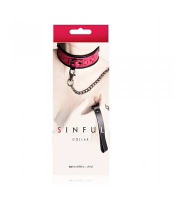 Sinful Collar with Leash in Pink
