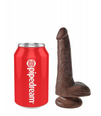 """King Cock 6"""" Cock with Balls-Brown"""