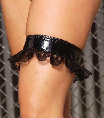 Vinyl  Leg Garter W/ Lace Trim