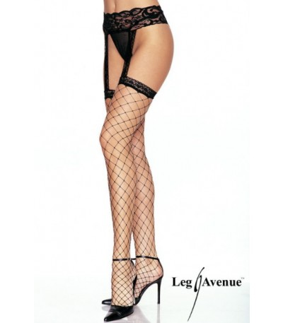 Lycra Fence Net Lace Top Gartebelt Stockings