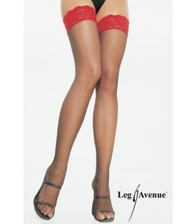 SHEER THIGH HIGHS-RED LACE TOP