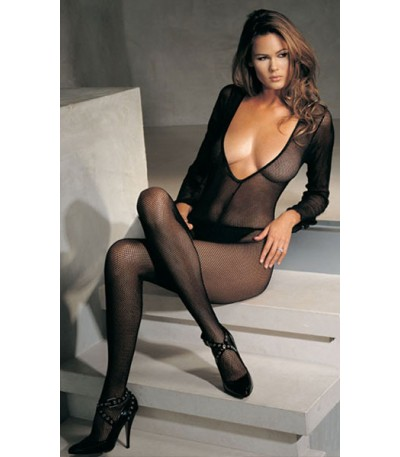 Black Fishnet Long Sleeves Bodystocking