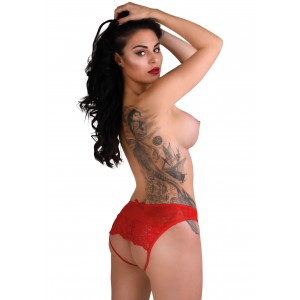 Nicolette crotchless panty-Red