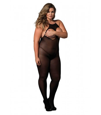 Open Cup Bodystocking Plus Size Black