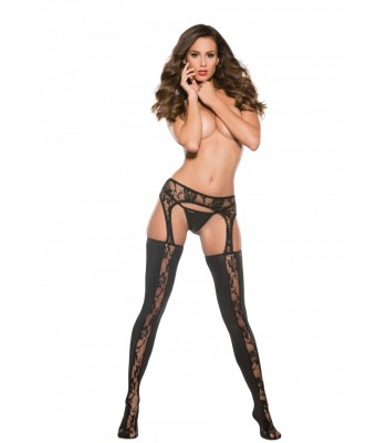 Lace Panel Garter Tights