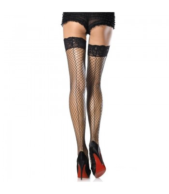 Stay-Up Lycra Industrial Lace Top Thigh Highs W Back Seam O/S
