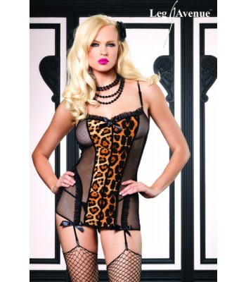 2pc Fishnet Garter Dress-Leopard Print