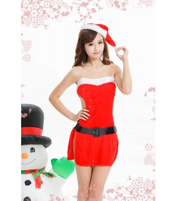Women Christmas Red Santa Claus Soft Costume