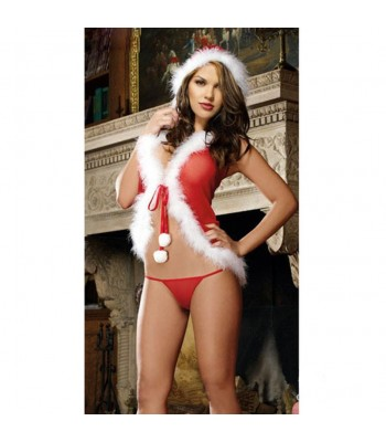 Christmas Women's Red Babydoll Dress with Hat