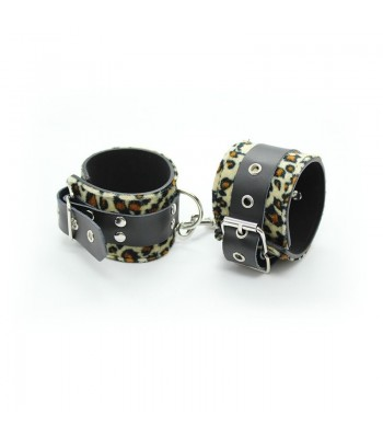 Adjustable Leopard Print Leather Handcuffs