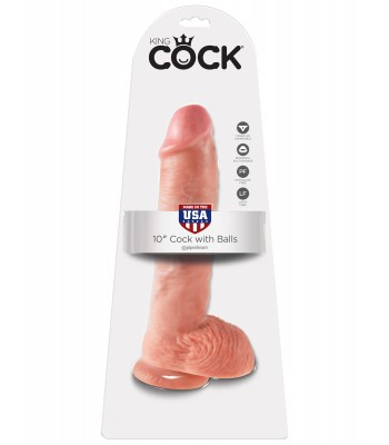 "King Cock 10"" Cock with Balls-Flesh"