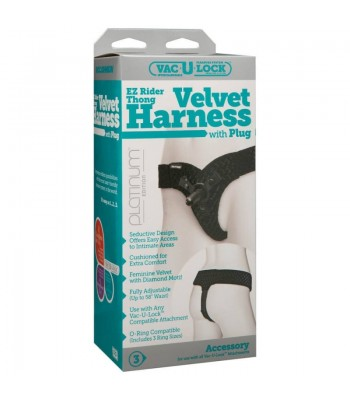 Vac-U-Lock - EZ Rider Thong - Velvet Harness with Plug
