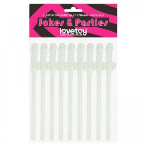 Glow in the Dark Willy Straws Pack of 9 pcs