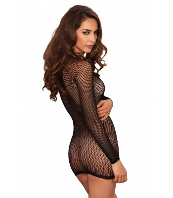 Warning Net Lace Up Mini Dress