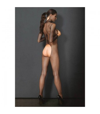 Hooded Fishnet Bodystocking black O/S