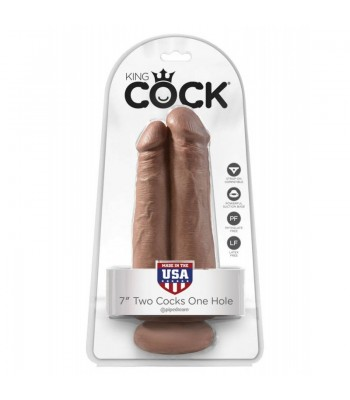 """King Cock 7"""" Two Cocks One Hole Tan"""