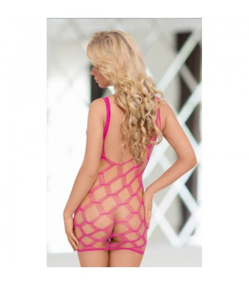 Kitty - Neon Pink Fishnet Mini Dress S-L