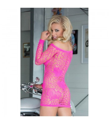 Sweetheart Mini Dress- Neon Pink S-L